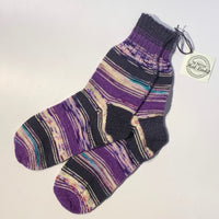British Hat Lady Hand-Knit Men's Socks Plum Grey Multicolured