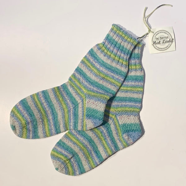 British Hat Lady Hand-Knit Socks Turquoise, Lime, and Sand Multicoloured