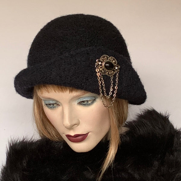 The British Hat Lady Pin-up Hat Black Wool