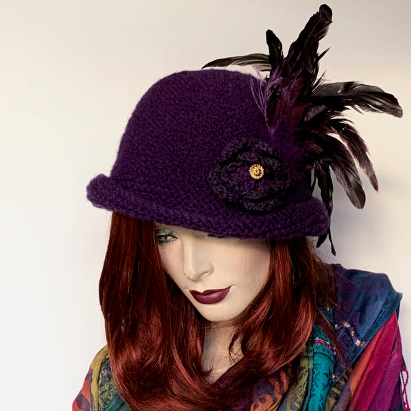 The British Hat Lady Roundtop Hat Purple Wool