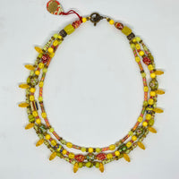 Cirque Three Strand Necklace Yellow Rainbow and Oxidized Brass