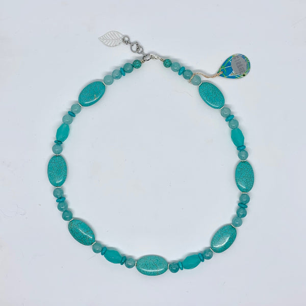 Cirque Classic Necklace Turquoise Howlite, Tinted Agate and Silver
