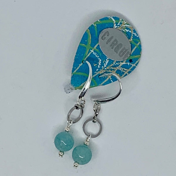 Cirque Earrings Small Circle Dangly Turquoise Tinted Agate and Silver