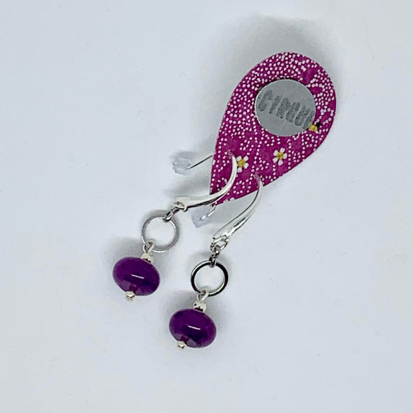 Cirque Earrings Small Circle Dangle Power Purple and Silver