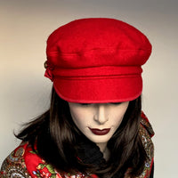 Fanfreluche Captain Cap Boiled Wool Red