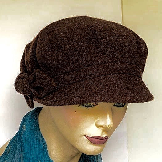 Fanfreluche Captain Hat Brown Boiled Wool