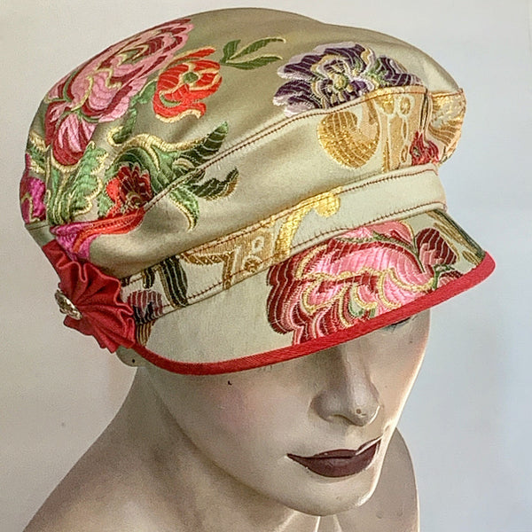 Fanfreluche Captain Hat Satin Woven Tapestry Hat Gold and Multi Coloured