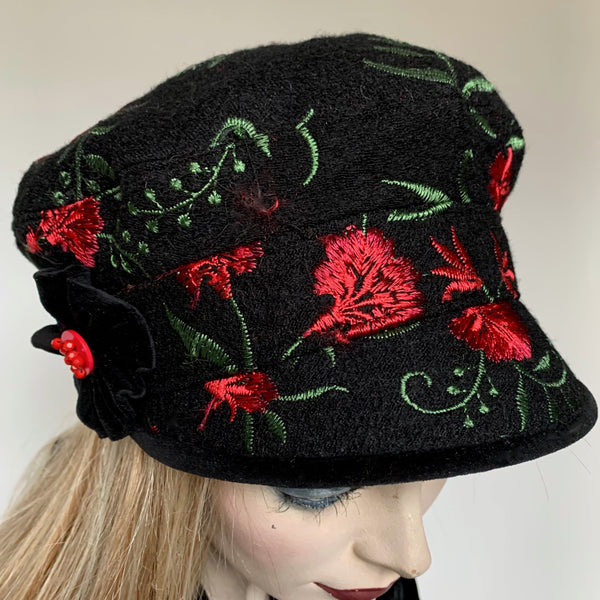 Fanfreluche Captain Luxury Wool Embroidered Red Roses