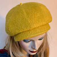 Fanfreluche 'Casquette' Hat Boiled Wool Gold