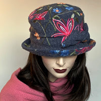 Fanfreluche Jojo Hat Grey Embroidered Boiled Wool