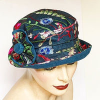 Fanfreluche Jojo Hat Medium Brim Embroidered Lace Layered on Teal Linen
