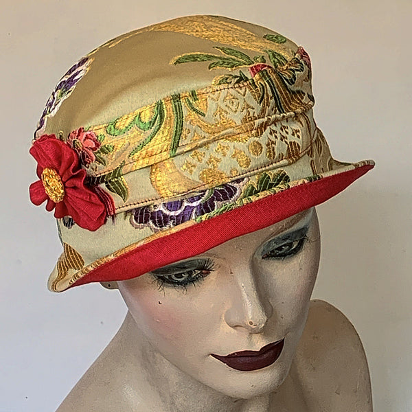 Fanfreluche Jojo Satin Woven Tapestry Hat Gold and Multi Coloured