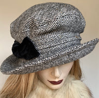 Fanfreluche Judy Hat Black and White Tweed with Gold Fleck