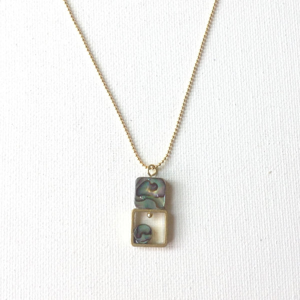 Gaby Geometric Brass Necklace and  Abalone Squares