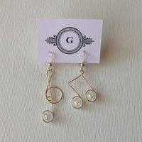 Gaby Gold Music Notes Earrings and Stones