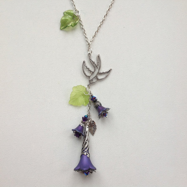Gaby Lucite Flowers Necklace in Dark Purples and Lime with Silver