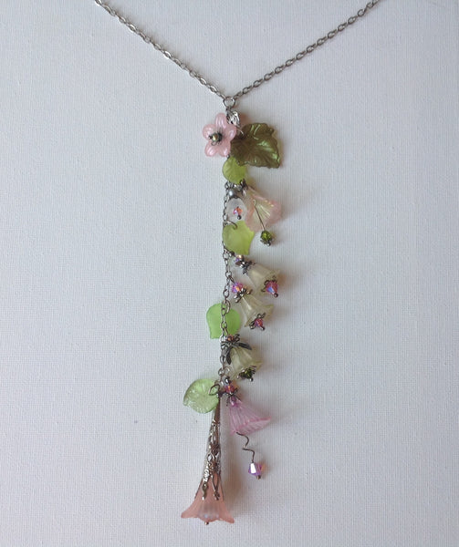 Gaby Lucite Flowers Necklace  in Light Roses and Lime with silver