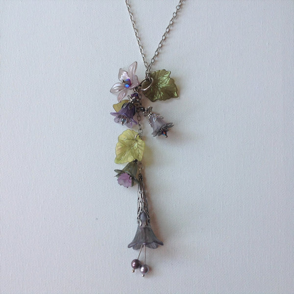 Gaby Lucite Flowers Necklace in Frosted Lavender Tones and Olive Greens with silver