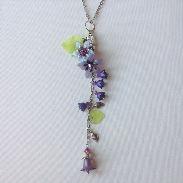 Gaby Lucite Flowers Necklace in Frosted Amethyst and Purples, Lime Greens with Silver