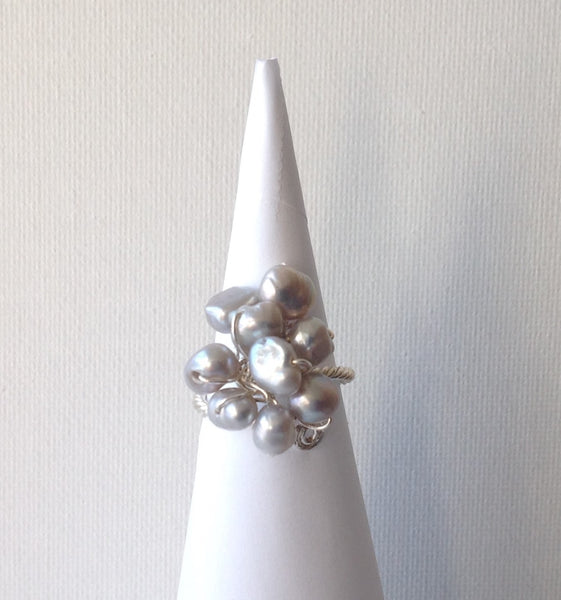 Gaby Grey Fresh Water Pearl Ring with Silver
