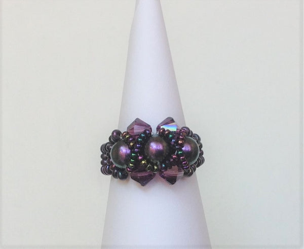 Gaby Purple Tones Swarovski Pearls and Crystals  Turtle Rings  Size 8.5