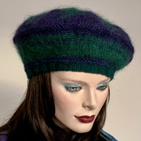Ildiko Mohair Blend Beret Black Watch Navy and Forest Green