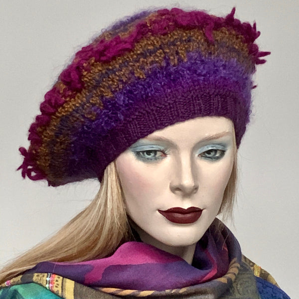 Ildiko Mohair Blend Beret Purple Magenta Curry Fringed Mix