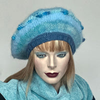 Ildiko Mohair Blend Beret Sea Ice  Mix