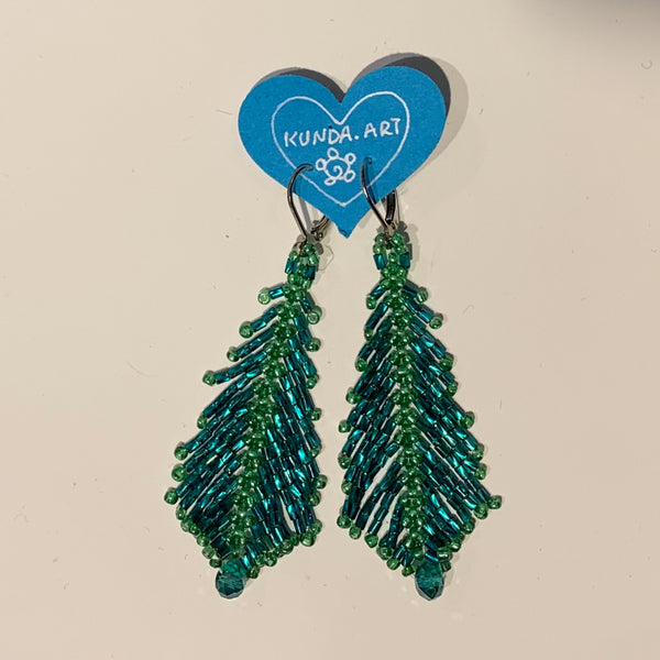 "Kunda Art Beaded ""Feather"" Earrings Teal and Green"