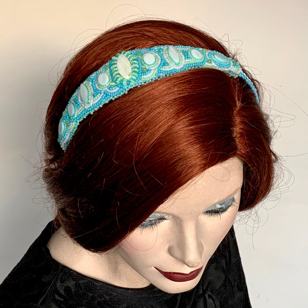Kunda Art Beaded Headband Blues and Greens with Mother of Pearl