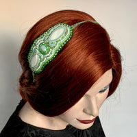 Kunda Art Beaded Headband Greens with Mother of Pearl and Agate