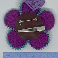 Kunda Art Flower Pin/Clip Purple Wool with Turquoise Zipper