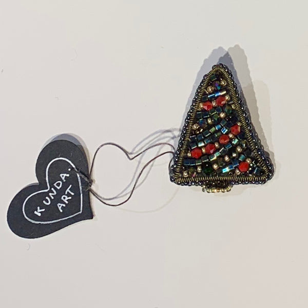 Kunda Art Pin Christmas Tree Beaded