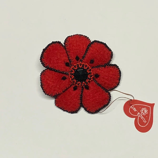 Kunda Art Poppy Brooch Beaded Red Wool