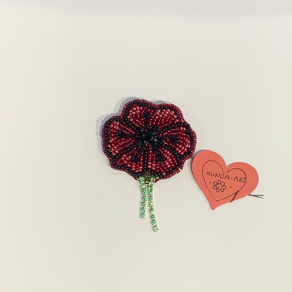 Kunda Art Poppy Brooch Beaded with Rhinestones