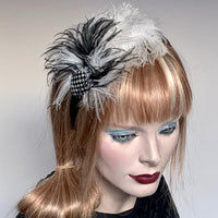 My Little Hat Fascinator Black and White Checkerboard and Feathers