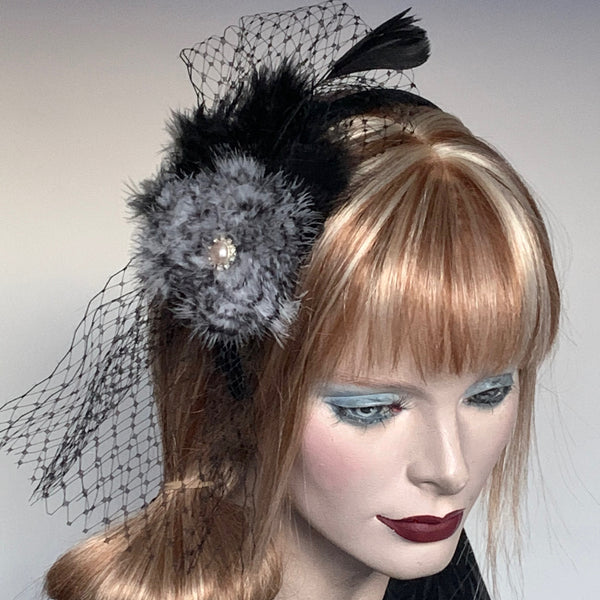 My Little Hat Fascinator Black and White Feathers and Netting