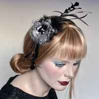 My Little Hat Fascinator Black and White Feathers and Stones