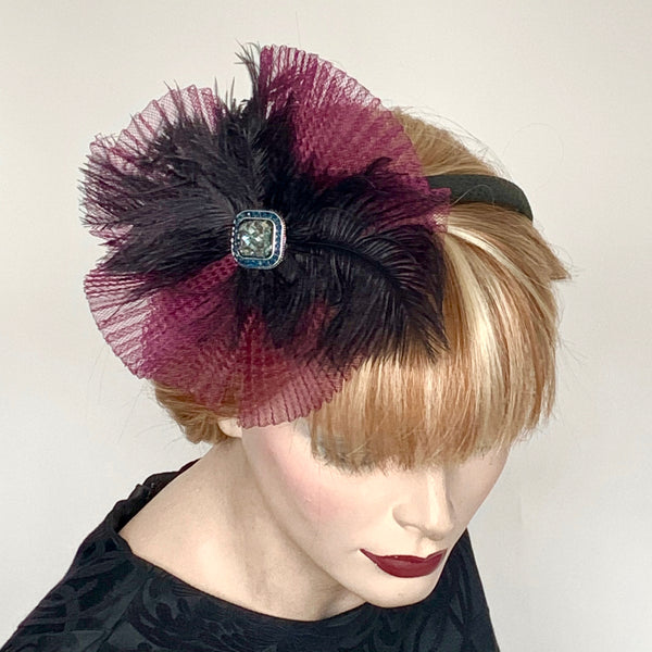 My Little Hat Fascinator Burgundy Crin and Black Feathers