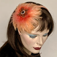 My Little Hat Fascinator Peachy Sunset Feathers