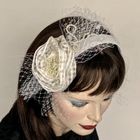 My Little Hat Fascinator White with Pearl