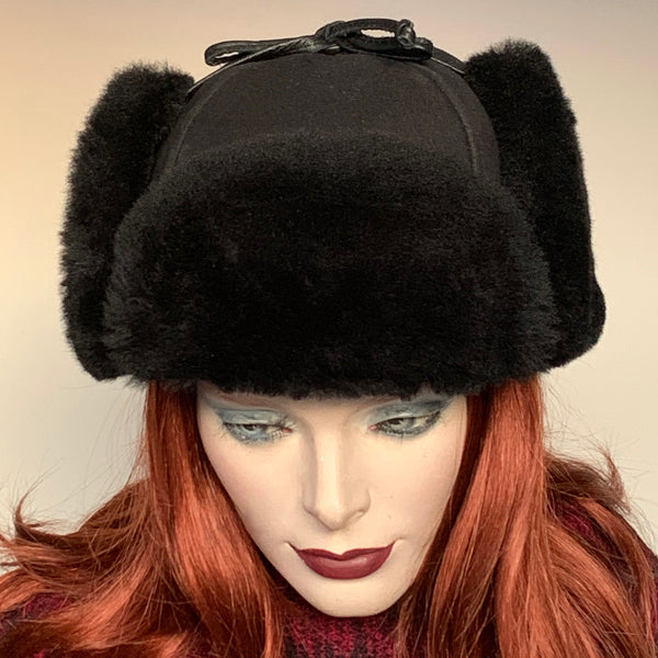 Sheared Comfort Sheepskin Mountie Hat Black