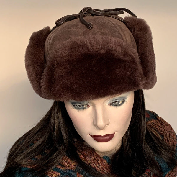 Sheared Comfort Sheepskin Mountie Hat Brown