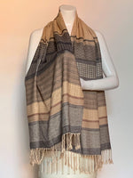 Stripes and Diamonds Patterned Scarf Soft Beiges