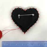 Kunda Art Beaded Pin Black with Red Stones and Silver Wire Heart