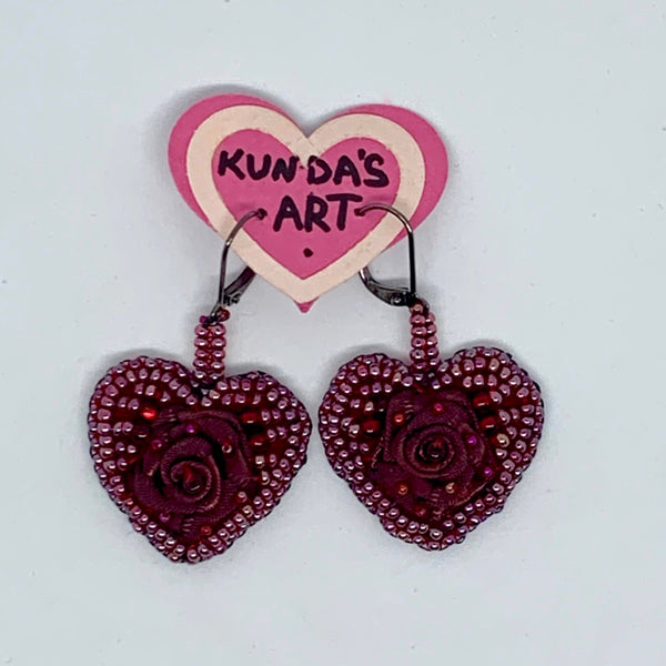 Kunda Art Embroidered Earrings Burgundy Beads and Roses Hearts
