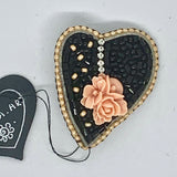 Kunda Art Beaded Pin Black with Peach Rose Heart