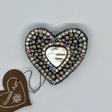 Kunda Art Beaded Pin Grey Mother of Pearl and Rhinestones Heart