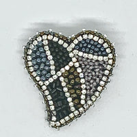 Kunda Art Beaded Pin Greys and Bronze Seed Beads with Rhinestones Heart