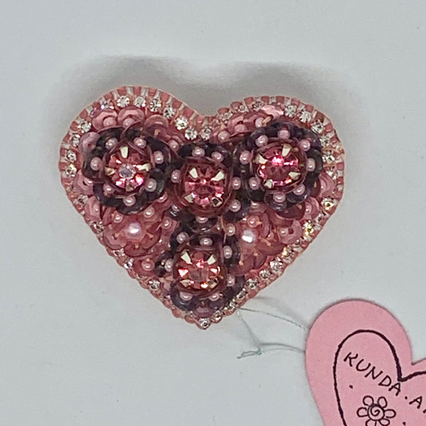 Kunda Art Beaded Pin Pink and Mauve Sequins and Rhinestones Heart